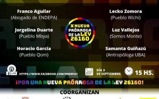 Para agendar Primer Conversatorio Ley 26160 y el Convenio 169 OIT Viernes 3 de septiembre 15 hs. Te esperamos! #Ley26160 #XNUEVAPRORROGA #Convenio169 #ENDEPA https:www.facebook.com/endepa1  https:www.facebook.com/endepa1